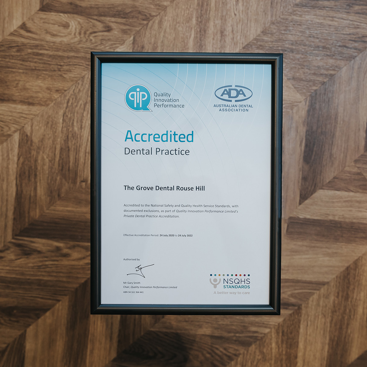 qip accreditation certficate dental